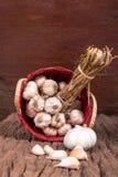 Garlic on Bambboo Basket Royalty Free Stock Image