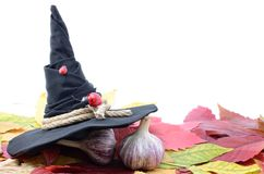 Garlic banishes the evil spirit on the autumn leaves Stock Photo