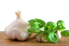 Garlic and basil on white. Background Royalty Free Stock Photo