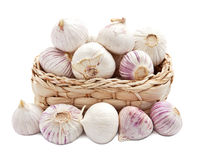 Garlic in a basket Stock Photos