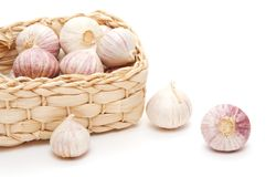 Garlic in the basket Royalty Free Stock Photo