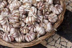 Garlic in a basket Stock Photo