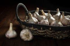 Garlic in basket, food ingredient. Royalty Free Stock Photos