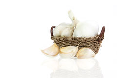 Garlic in basket Royalty Free Stock Images