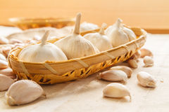 Garlic in basket Stock Photo