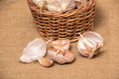 Garlic on basket. Some garlic heads on a basket container on burlap background Royalty Free Stock Images