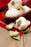 Garlic and bay leaf Stock Images