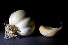 Garlic  on Black Background Royalty Free Stock Images