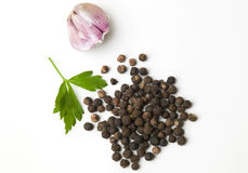 Garlic and black pepper Royalty Free Stock Photography