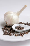 Garlic and black pepper Stock Photography
