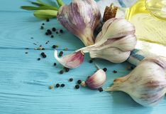garlic, black pepper bottle oil aromatic nutrition vegetable on blue wood Stock Images
