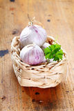 Garlic in a box. With parsley on a rustic wooden board Stock Photography