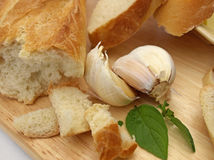 Garlic with bread Stock Photo