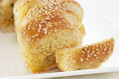 Garlic Bread. Topped with sesame seeds stock photo