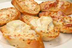 Garlic bread. Enjoying garlic bread mediterranean style Royalty Free Stock Photo