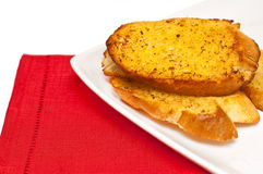 Garlic bread against white Stock Photo