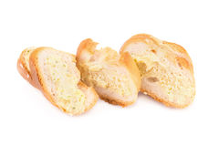 garlic bread against white background Royalty Free Stock Images