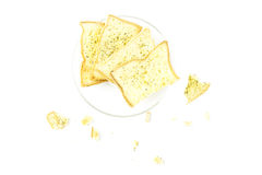 Garlic bread bakery bite snack top view Royalty Free Stock Images
