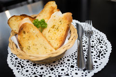 Garlic bread. In bamboo weave basket Stock Image