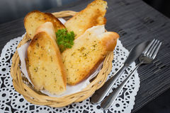 Garlic bread. In bamboo weave basket Royalty Free Stock Photos
