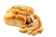 Garlic bread and biscuits Stock Photography