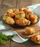 Garlic bread buns seasoned with dill Royalty Free Stock Photo