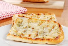 Garlic bread with cheese Stock Photo
