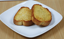 Garlic bread with cheese in plate Royalty Free Stock Photography