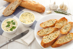 Garlic bread compound butter herb baguette thyme rosemary coriander oregano Royalty Free Stock Photos