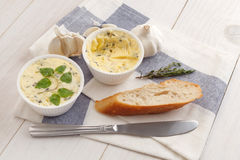 Garlic bread compound butter herb baguette thyme rosemary coriander oregano Royalty Free Stock Image