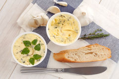 Garlic bread compound butter herb baguette thyme rosemary coriander oregano Stock Photography
