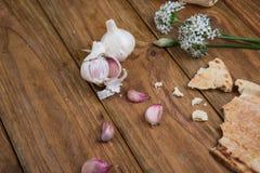 Garlic and bread Stock Photos