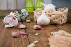 Garlic and bread Stock Photo