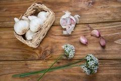 Garlic and bread Stock Image