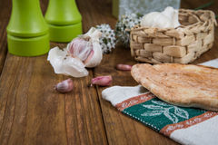 Garlic and bread Stock Photography