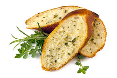Garlic Bread with Herbs. Garlic bread with herbs,  on white Royalty Free Stock Images