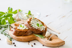 Garlic bread with herbs Royalty Free Stock Photography