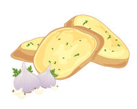 Garlic bread. An illustration of crunchy garlic bread with butter and garlic bulbs and cloves for decoration stock illustration