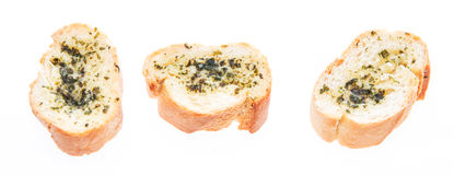 Garlic Bread isolated on white Stock Images