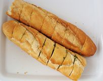 Garlic bread. A loaf of garlic bread Stock Photo
