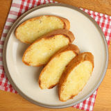 Garlic Bread on Plate from Above Royalty Free Stock Photo