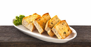 Garlic bread on a plate Royalty Free Stock Photography