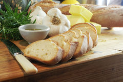 Garlic bread & rosemary oil, landscape Stock Photo