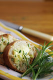 Garlic bread slices & rosemary Stock Photos