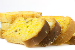 Garlic bread on a white background Royalty Free Stock Image