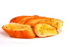 Garlic breads on white background Royalty Free Stock Images