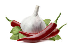 Garlic Bulb, Chili Pepper Isolated On White Background Stock Photo