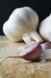 Garlic Bulb and Cloves Macro Stock Images