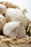 Garlic bulbs in basket Royalty Free Stock Images
