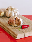 Garlic bulbs, chilli pepper and ginger Stock Image